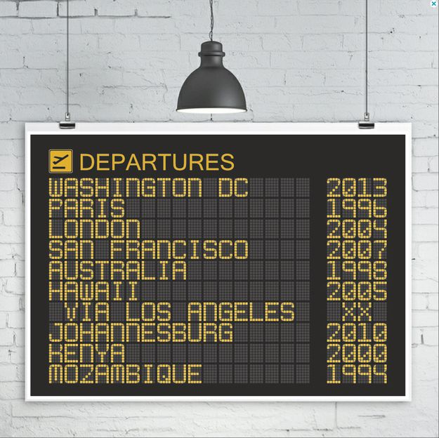A personalized airport departures board print. | 18 Gifts For Anyone With A Heart Full Of Wanderlust