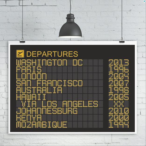 Un panel de información de aeropuerto personalizado. | 18 regalos de ensueño para cualquiera obsesionado con viajar