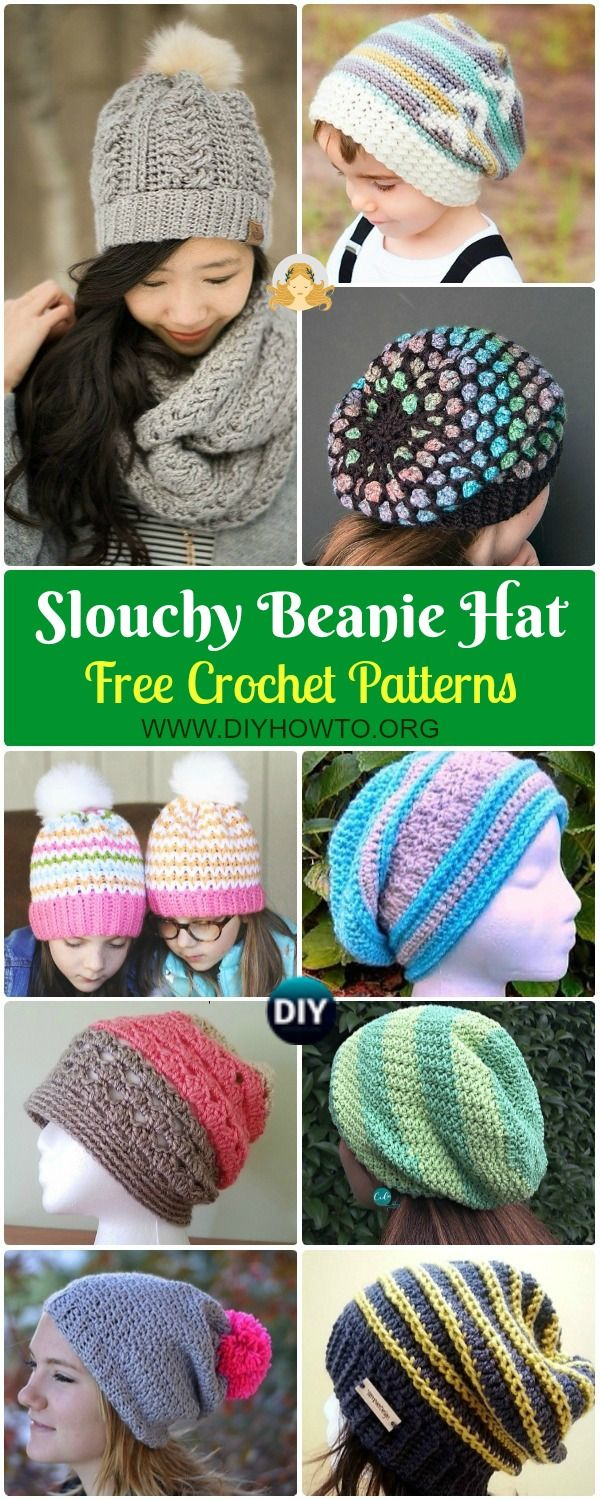 bb1f6ae7531 Collection of Crochet Slouchy Beanie Hat Free Patterns Tutorials  Solid