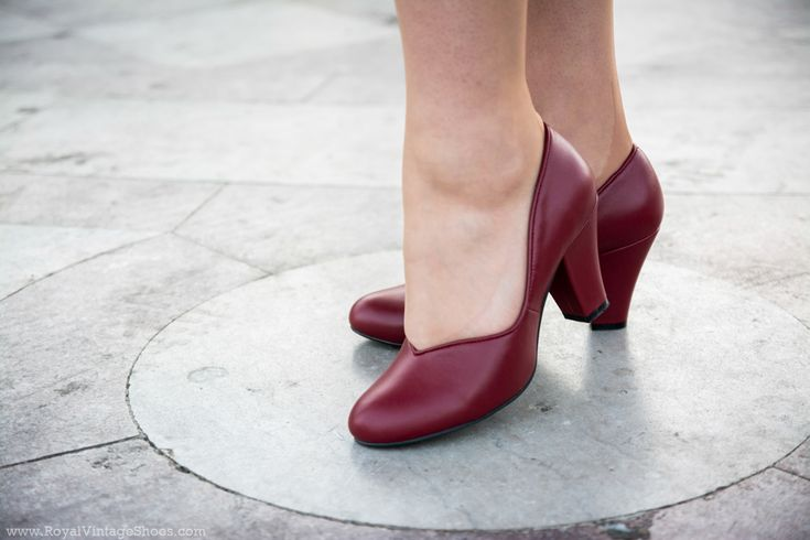 """""""Marilyn"""" 1940s Pin Up Pumps in Oxblood Red Leather by Royal Vintage Shoes. Classic 1940s Reproduction Shoes."""