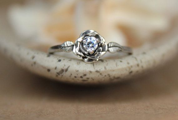 Delicate Rose Engagement Ring with White Sapphire in Sterling - Silver Unique Rose Diamond Alternative Promise Ring, Commitment Ring on Etsy, $90.00
