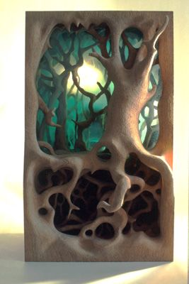 Shadowbox - Lacewood and Blasted Glass - G e o r g e  D e n n i n g e r