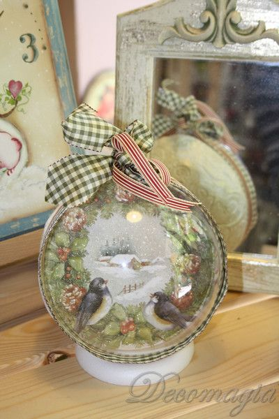 Christmas plexiglass ball with #decoupage