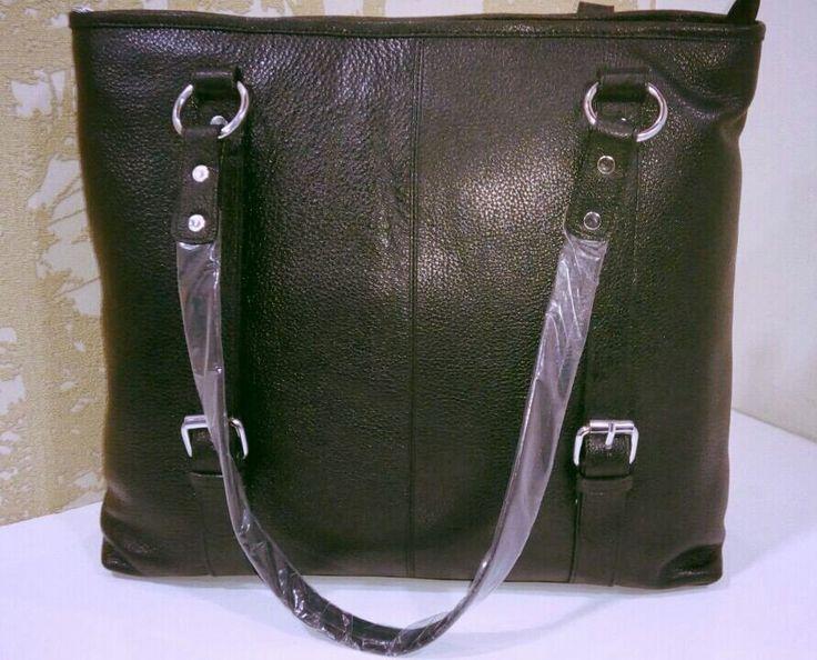 100% Genuine Buffalo Leather Strapped Everyday Handbag - Black