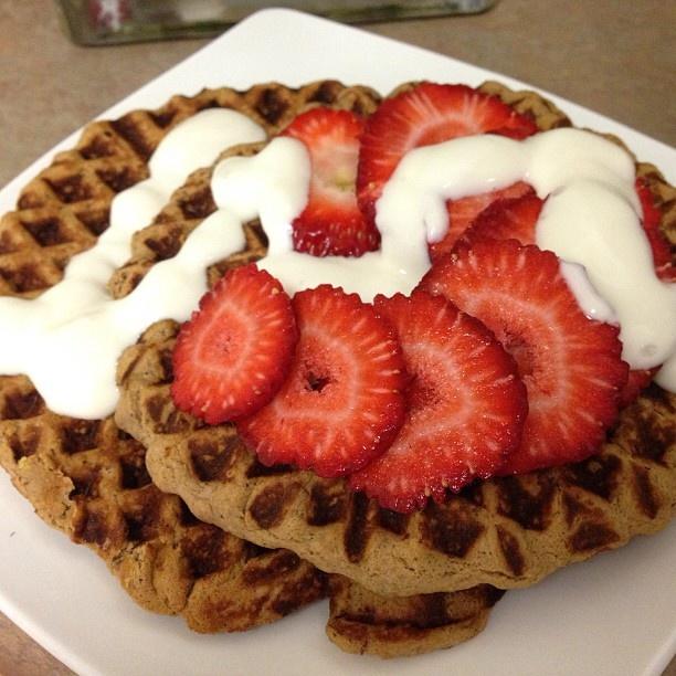 waffles with honey apples and pecans yogurt and honey bread honey ...