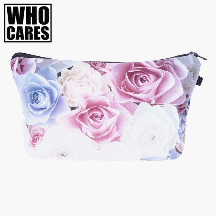 [Visit to Buy] Pastel roses pink 3D Printing cosmetic bag bolsa neceser 2017 who cares Fashion women makeup bag kosmetik bag estuche maquillaje #Advertisement