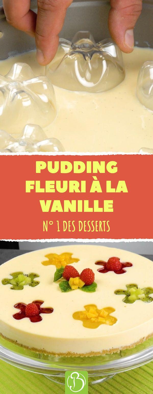Pudding fleuri à la vanille. N° 1 des desserts. #recette #pudding #vanille #po…