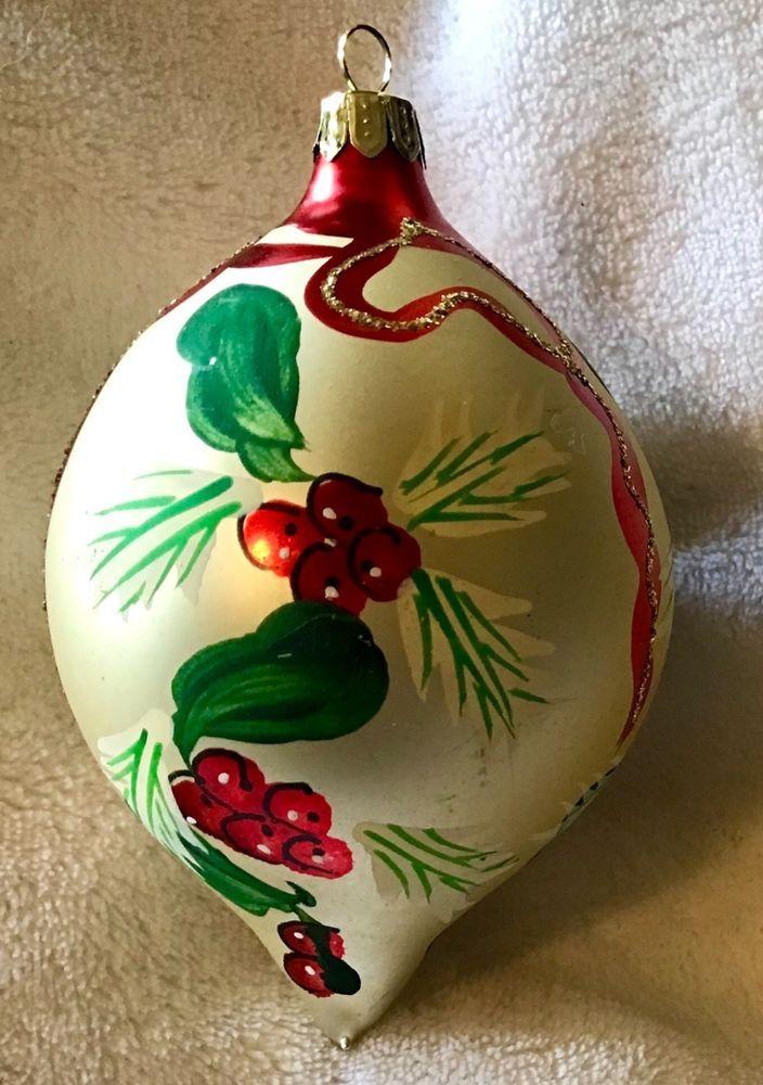 Vintage Mercury Glass Christmas Ornament Teardrop Hand