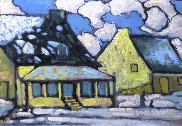"""Marc-Aurèle Fortin, """"Ste-Rose en hiver,"""" v. 1932, huile sur panneau, 10"""" x 14"""""""