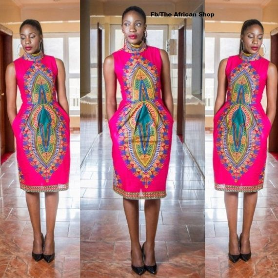 Pink Dashiki Pencil Dress