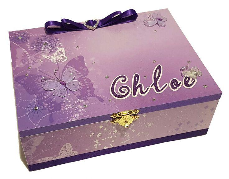 Purple Butterflies Keepsake Box- Personalised