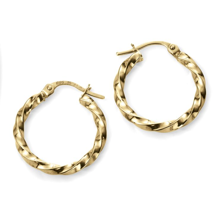 Hallmarked 9ct Yellow Gold Chunky Twisted Hoop Earrings - From the new Elements Gold 2016 collection, these beautifully designed earrings delivers a timeless elegance and charm. Expertly crafted using hallmarked 9ct yellow gold, this piece is supplied with a branded Elements Gold gift box: http://ow.ly/Xy3Ov