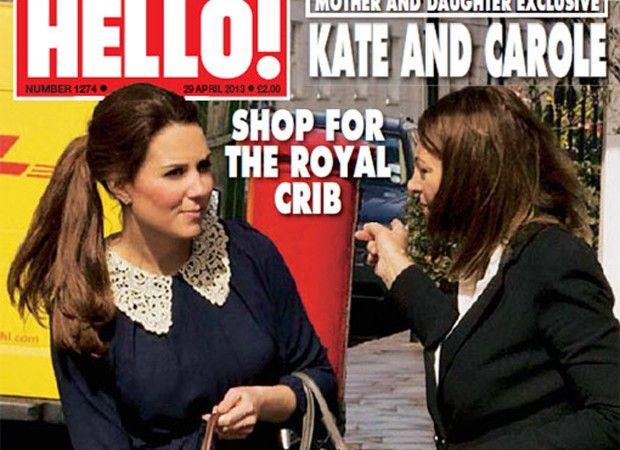 23/04/2013 10h42 - Kate Middleton compra o enxoval do bebê ao lado da mãe. A Duquesa de Cambridge foi fotografada pela revista 'Hello' daquela semana comprando artigos para o quarto do bebê real.