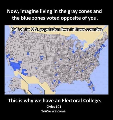 If we abolish the electoral college, the presidential hopefuls will only need to campaign and win 50%+1 vote in these blue areas to win the presidency. The rest of the country, the grey areas, would be completely ignored by the candidates. The reason we have the electoral college is to protect us from the tyranny of the majority.