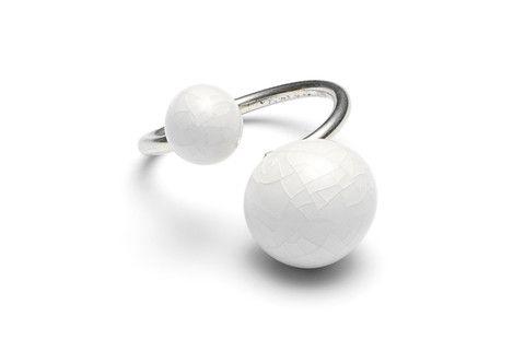 White Porcelain Pear Ring