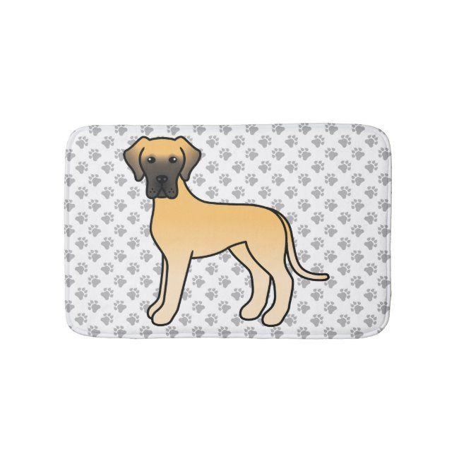 Fawn Great Dane Cute Cartoon Dog Paws Bath Mat Zazzle Com Cartoon Dog Dog Paws Dog Lover Gifts