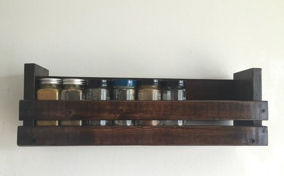 Wall mounted wood spice rack by BlackIronworks on Etsy
