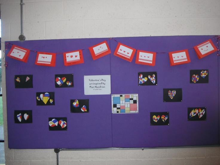Piet Mondrian hearts and fingerprint heart Valentine's cards