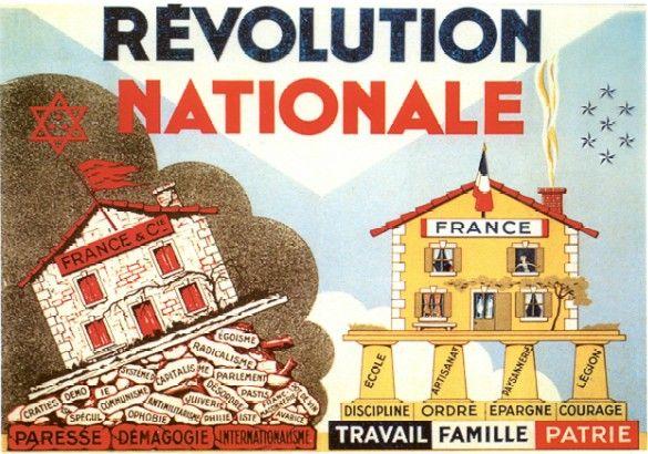 Le maréchal Pétain annonce le début de la Révolution nationale, dont la devise « Travail, Famille, Patrie » remplace la devise républicaine « Liberté, Egalité, Fraternité ».