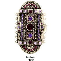 Rhodium Plate, Old Palladium Color, Deco Oval, Push-Pull Clasp, with Rhinestones (amethyst, tanzanite, violet), 7-strands, 61x31mm, (1 clasp)      Land of Odds - Jewelry Design Center  www.landofodds.com