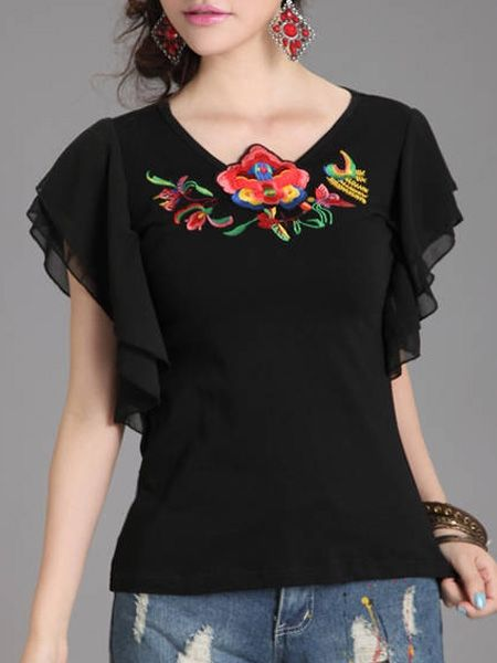 Concise Round Neck Embroidery Short-sleeve-t-shirts | fashionmia.com - fashionmia.com