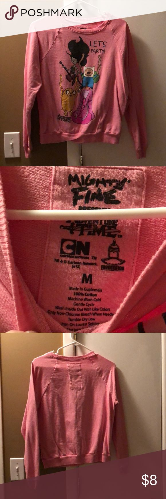 """Adventure time hoodless sweatshirt pink Pink adventure time sweatshirt. Has no hood or pockets. Says """"let's party"""" on the front. Mighty Fine Tops Sweatshirts & Hoodies"""