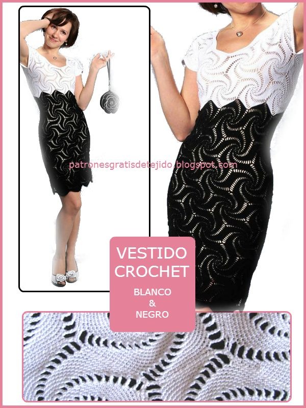 Patrones crochet de vestido de dama blanco y negro