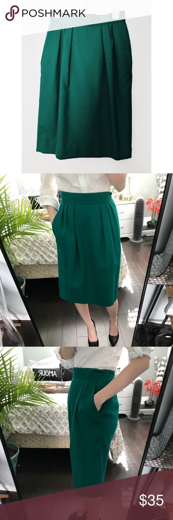 Vintage wool green pencil skirt Fully lined and has pockets! Gorgeous emerald color. The pics are true to color. Vintage size 8 fits a 00 or 0! If you have any questions feel free to ask. I have a great bundle discount! Like it? Bundle it and I'll make you a private offer! Jones Wear Skirts Pencil