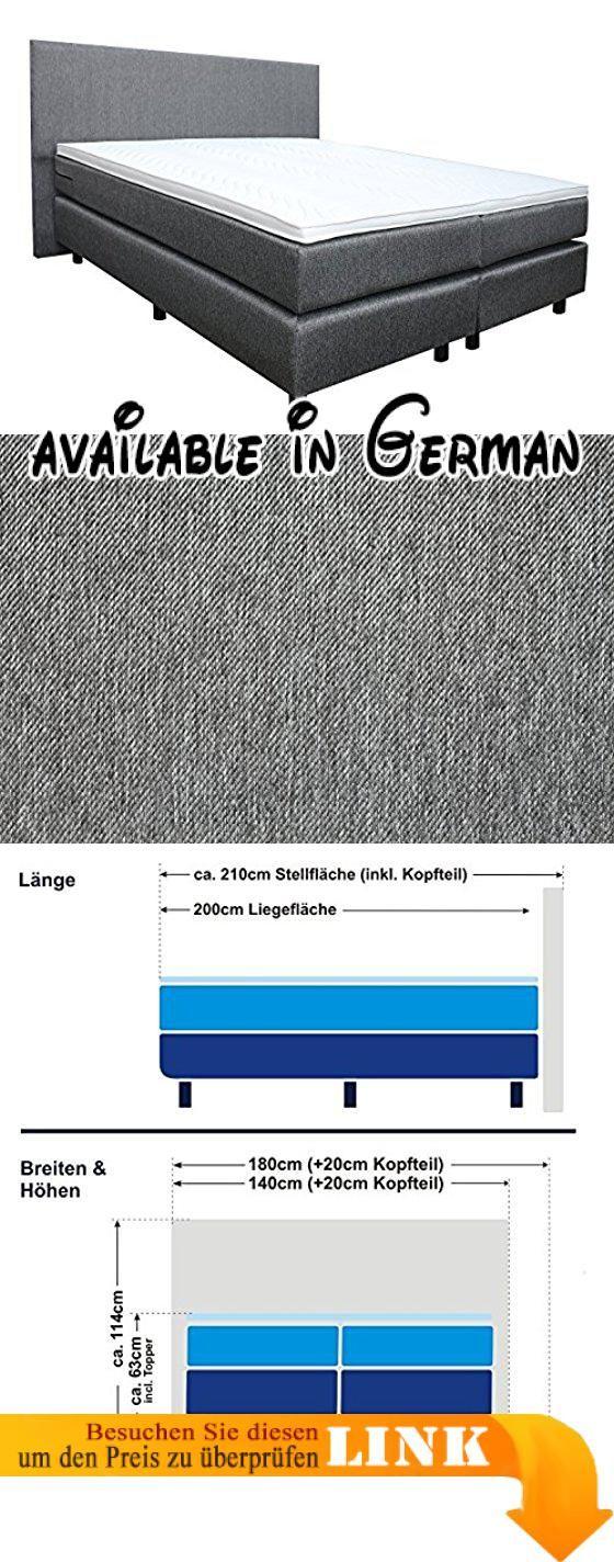 """B0724YTNST : Boxspringbett """"Florenz"""" inkl. Topper  Doppel - Taschenfederkernmatratze schwarz/anthrazit H3 oder H5 Hotelbett Polsterbett (180x200cm H3/H5 anthrazit). Kaltschaum-Topper für die Feinpolsterung. Bezug: Hochwertiger Serka Stoff (Hotelqualität). Matratze: 7 Zonen Tonnentaschenfederkern mit 480 Federn pro Seite  Unterfederung: Tonnentaschenfederkern mit 400 Federn/Seite. Härtegrade H3 oder H5  Farben: anthrazit und schwarz. Versand per Spedition ( frei"""