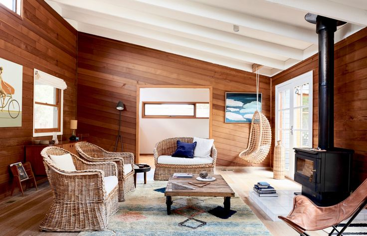 The Point Lonsdale home of property developer and entrepreneur Michael McCormack of Milieu, and his wife Laura, a speech pathologist, represents relaxed Australian beach culture at its best.  This home, built in the 1970s, brings together distinctive cedar timber panelling, soaring raked ceilings, and a charming hodge-podge of salvaged furniture and treasured pieces