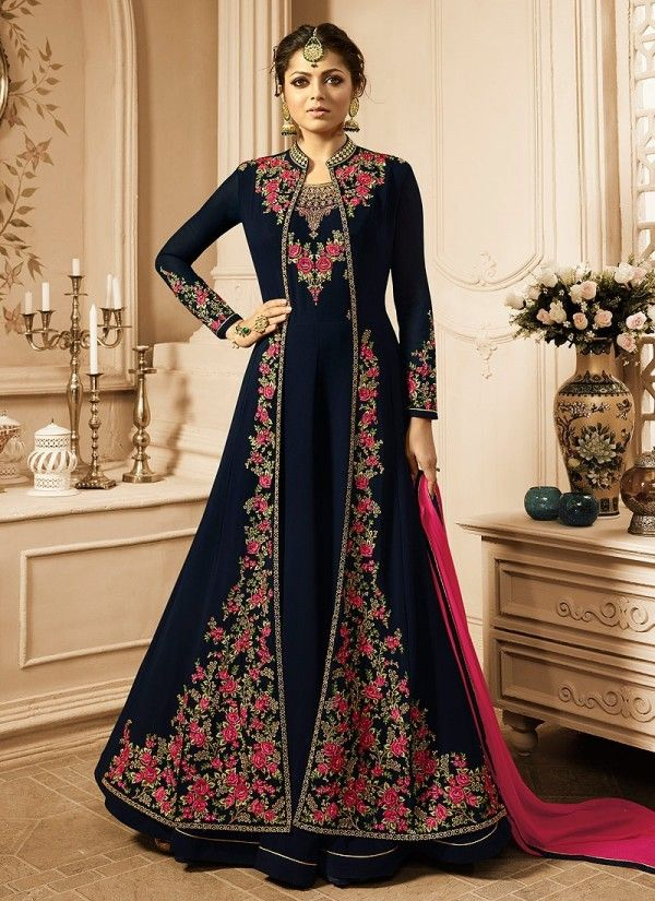 a4830e5d12 Navy Blue And Pink Jacket Style Embroidered Anarkali Suit in 2019 ...