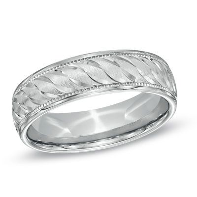 Zales Mens 7.0mm Tapered Groove Wedding Band in Sterling Silver 2yWMB