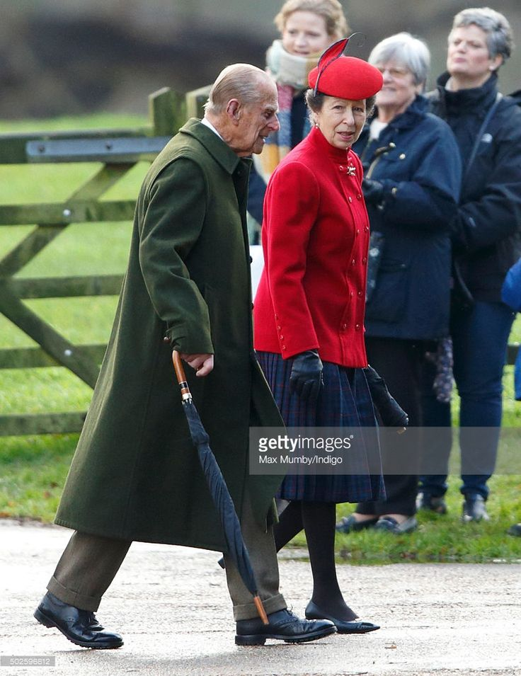 Prince Philip, Duke of Edinburgh and Princess Anne, The Princess Royal attend the Sunday service at St Mary Magdalene Church, Sandringham on December 27, 2015 in King's Lynn, England. (Photo by Max Mumby/Indigo/Getty Images)