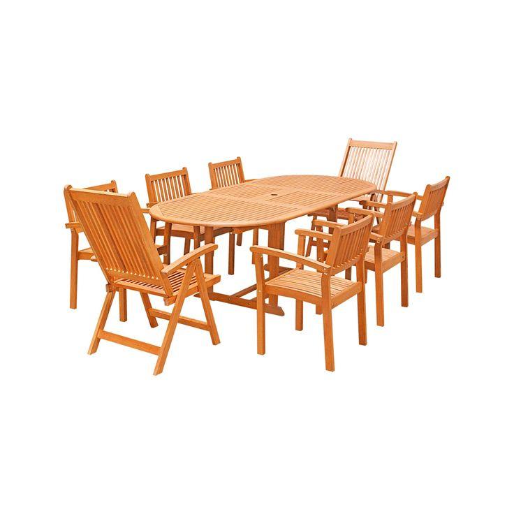 Malibu 9pc Oval Wood Patio Dining Set - Brown - Vifah
