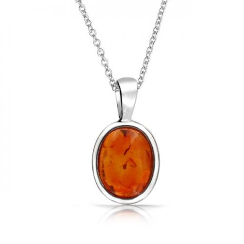 Bling Jewelry 925 Silver Gemstone Oval Honey Amber Pendant Necklace 16 Inch
