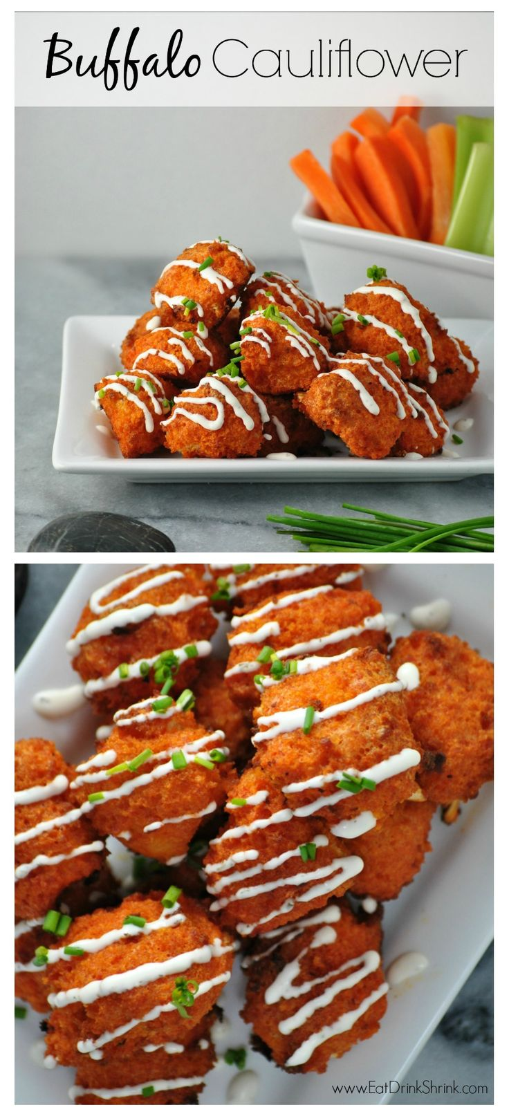 Baked Buffalo Cauliflower Bites with vegan blue cheese