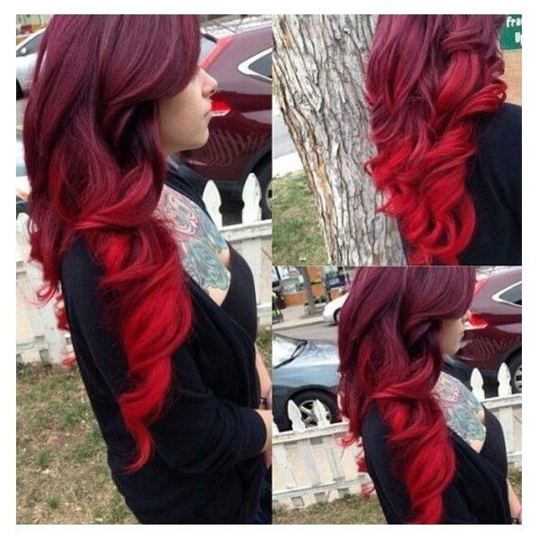 Red Velvet Cake to Ariel Red Ombre. If I'm allowed to have an… ❤ liked on Po…