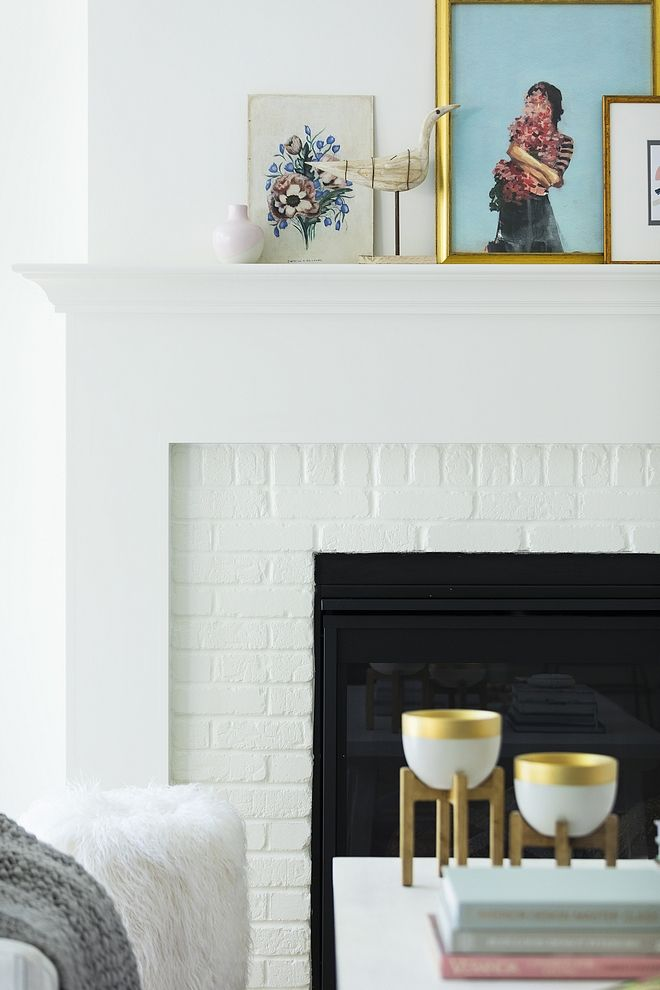 Painted Brick Fireplace Paint Color The Painted Brick Fireplace Paint Color Is White Dove By Benj Beautiful Home Designs Painted Brick Painted Brick Fireplaces