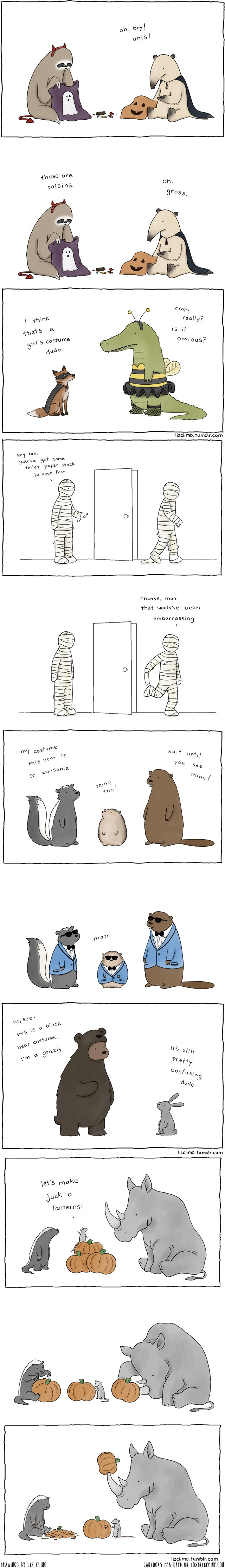 Halloween cartoons by Liz Climo featured on FOXINTHEPINE.COM
