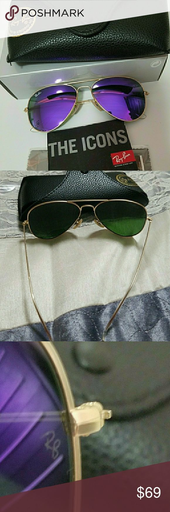 Ray ban aviator flash purple mirrored RB 3025 Ray ban aviator flash mirrored Brand new with box case and cleaning cloth  Made in itlay  Frame gold  Size 58mm Ray-Ban Accessories Sunglasses