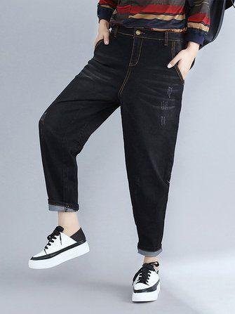 Women High Waist Harem Jeans