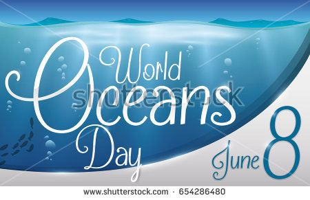 Banner with beautiful underwater view with fishes, bubbles and a greeting label commemorating World Oceans Day in June 8.