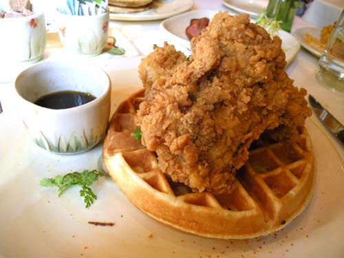 Fried Chicken and Waffles at Table Fifty-Two- a good version of Roscoe's!