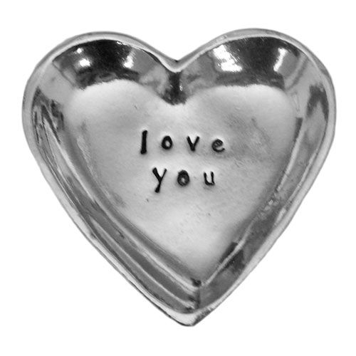 "This lovely pewter charm bowl gift can be given as a token of love, thanks or appreciation. It has ""love you "" engraved on it and can be used as a ring bowl, pill bowl or simply as a decorative reminder."