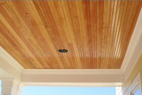 Pin by kim reed on porch ceiling ideas pinterest rick and wood stain and stains for Exterior beadboard porch ceiling