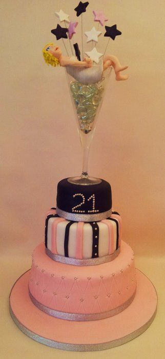 """A special 21st birthday cake 4, 6, 8"""" chocolate & vanilla sponge. With personalised topper. Including her new sparkly engagement ring :o)"""