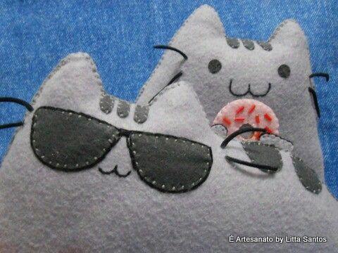 Gatinhos pusheen by Litta Santos À venda em e_artesanato@hotmail.com