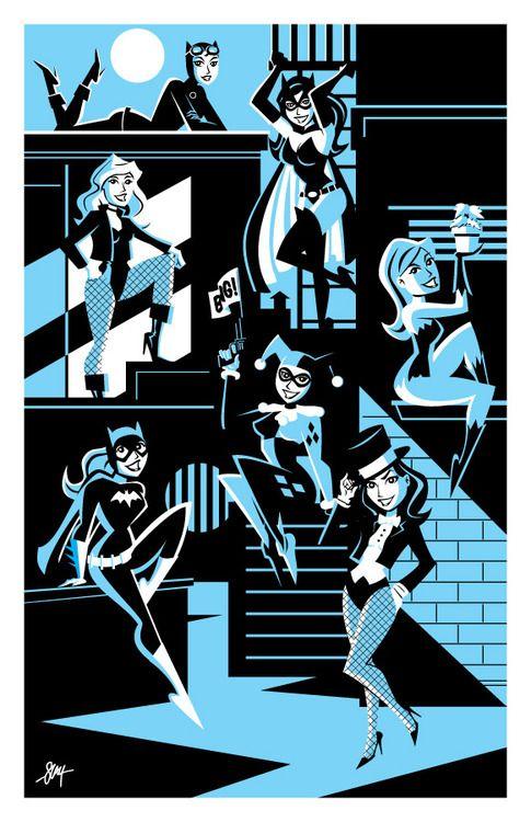 Gotham Girls Print by Cal Slayton - Selina, Kate, Dinah, Pam, Babs, Harley, and Zanna.