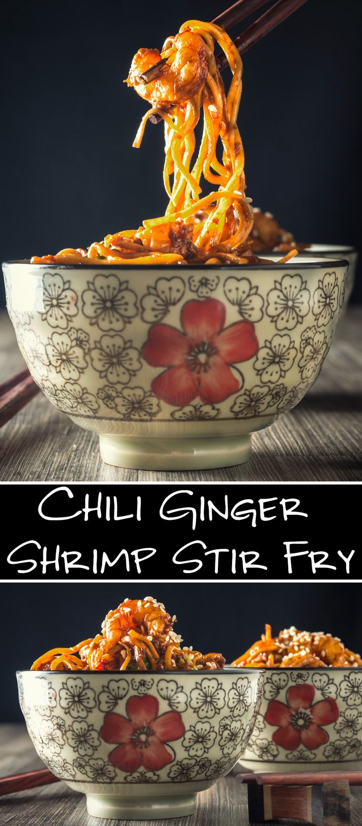 A quick and simple Asian shrimp stir fry that is full of garlic, ginger, soy, and sesame flavors, and ends with a kick of heat.