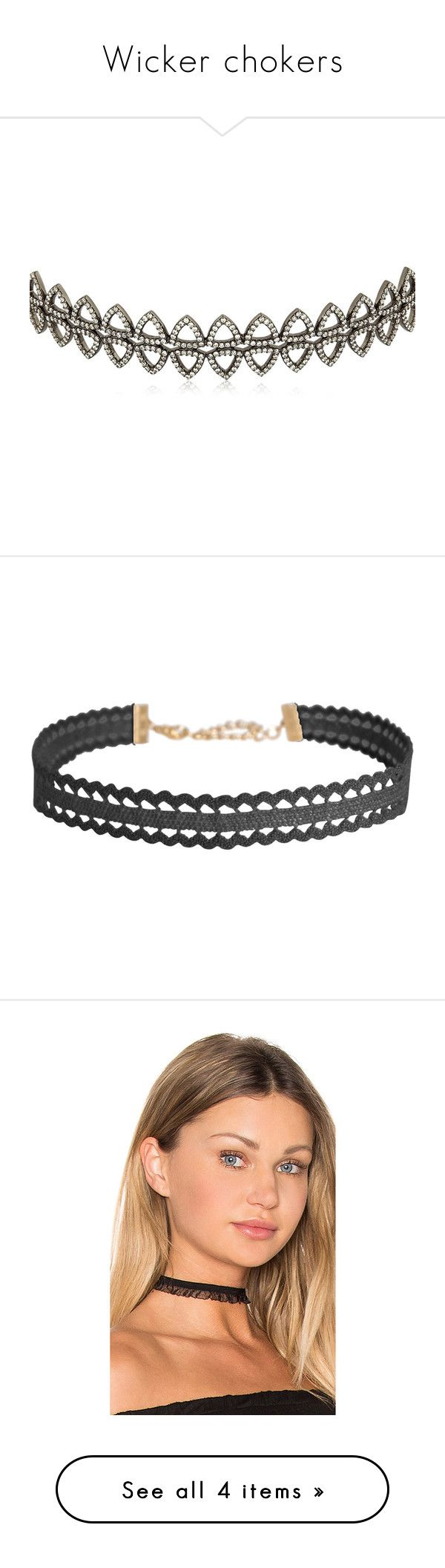 """""""Wicker chokers"""" by alena-mr ❤ liked on Polyvore featuring jewelry, necklaces, accessories, chokers, colares, black, choker jewelry, choker necklace, black crochet and bib collar necklace"""